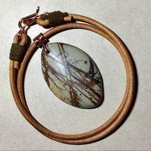 "🌴❤️🌴16"" Stunning Jasper Leather Choker Necklace"